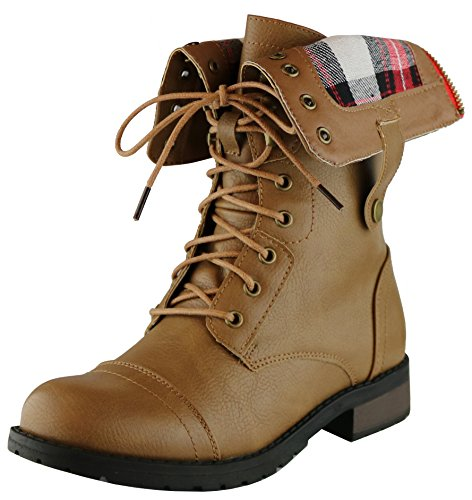 Cambridge Select Women's Combat Military Foldable Plaid Cuff Mid Calf Ankle Boot