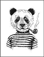 【FOX REPUBLIC】【パンダ パイプ ボーダー】 白光沢紙(フレーム無し)A4サイズ