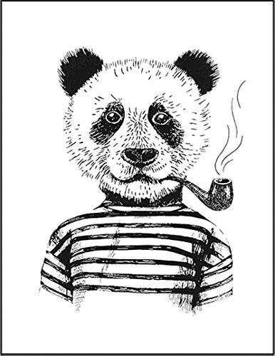 【パンダ パイプ ボーダー】 余白部分にオリジナルメッセージお入れします!ポストカード・はがき(白背景)