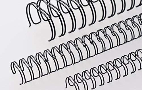 Renz Ring Wire Drahtkamm-Bindeelemente in 3:1 Teilung, 34 Schlaufen, Durchmesser 11.0 mm, 7/16 Zoll, schwarz