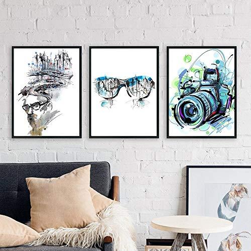 TXTYUMR Cámara Abstracta Gafas Arte Graffiti Arte de la Pared Pintura en Lienzo Carteles e Impresiones nórdicos Decoración de la Sala de Estar Cuadros de la Pared | 40x60cmx3 Sin Marco