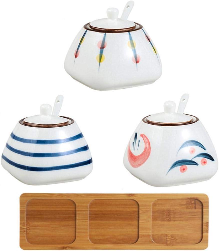 10.6 OZ Ceramic Sugar Bowl with Seasoning Por and Box Spoons Lid Topics on TV Max 87% OFF
