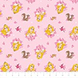 Disney Forever Princess Aurora Wreaths in Light Pink 100% Premium Quality Cotton Fabric by The Yard