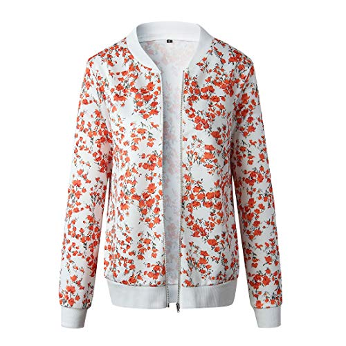 Sczz Jackets Women Cardigan Women Casual Loose Comfortable Long Sleeves Floral Pattern Women Jacket Winter Zipper Windproof Fashion Casual Women Jacket B-White(A) M