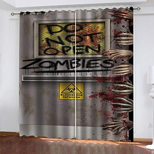 LUOWAN raumteiler Vorhang Horror-Zombie-Muster 2er-Set Gardinen Verdunkelungsvorhang Blickdicht - Eleganter Vorhang mit Ösen für Schlafzimmer für Schlafzimmer Wohnzimmer