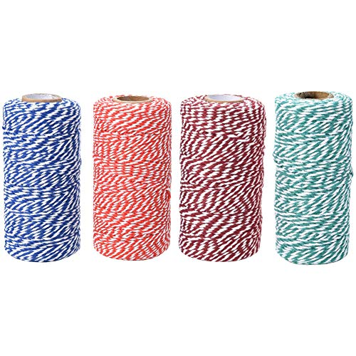 4 Rollen x 100 m Baumwollschnur mit Zwei Fäden, Gartenschnur zum Dekorieren, Geschenkverpacken, Backen - 2 mm Durchmesser | Rot + Weiß + Blau + Grün