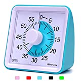 Ainowes Visual Timer, 60-Minute Silent Countdown Timer for Kids and Adults,Time Management Tool for Kitchen, Classroom,Self-Study, No Loud Ticking (Blue)