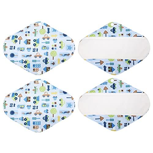 Almohadillas Sanitarias Reutilizables de Bambú de 4 Piezas, Almohadillas de Incontinencia Ligeras Juegos Menstruales de Carbón Resistente al Agua para un Flujo Pesado Regular(X23)