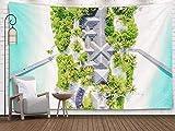 Tapiz grande, tapiz de pared, Home Art of Cotton para D & eacute; cor Sala de estar Foto del dormitorio del hermoso paraíso Maldivas playa tropical en la isla Concepto de vacaciones de viaje de vacaci