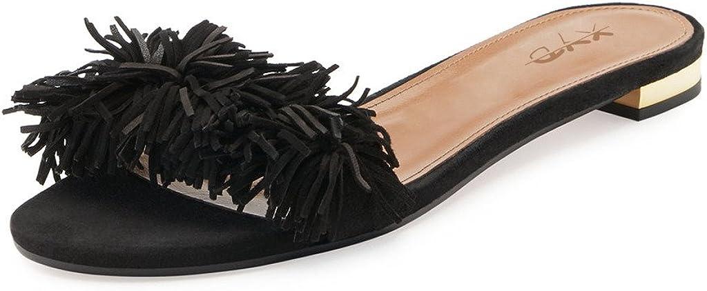 XYD Summer Fringe Slide Sandals Slip On Comfortable Slippers Solid Women Loafer Shoes Easy Walking