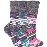 sock snob - 3er Pack Damen Ohne Gummi Winter Socken für Diabetiker - Diabetikersocken Thermosocken mit Norweger Muster (37-42 EU, Grau)