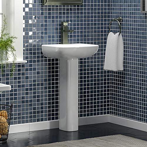 Magnus Home Products Galena 100 Vitreous China Pedestal Bathroom Sink, Single-Hole, 17 3/4