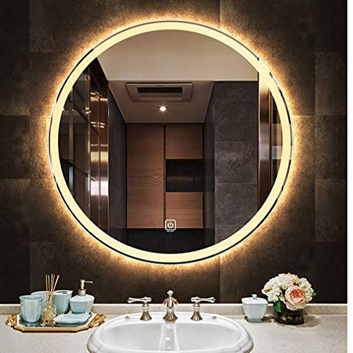 Deevin Round Frameless Led Backlit Bathroom Mirror, Wall Mounted Vanity Mirror for -