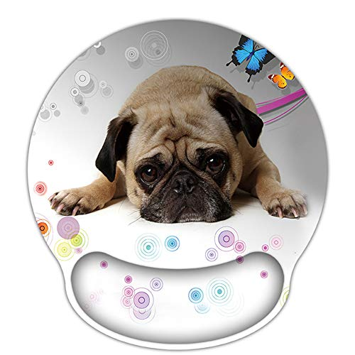 RICHEN Memory Foam Mouse Pad with Wrist Support,Ergonomic Mouse Pad with Wrist Rest,Non-Slip Rubber Base for Computer Laptop & Mac,Lightweight Rest for Home,Office & Travel (Cute Pug)