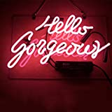 Mugua ''Hello Gorgeous ' Real Glass Handmade Beer Neon Sign 13.5' x 8.9' for Bar Bedroom Garage Game Room