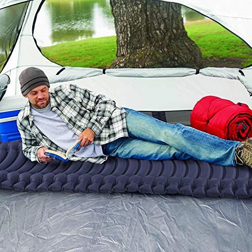 INVOKER Ultralight Inflatable Camping Sleeping Pad - Mat with Built-in Foot Pump, Lightweight 18.3OZ Compact Air Mattress, Best Sleeping Pads for Backpacking Travel Hiking Beach (Navy Blue)