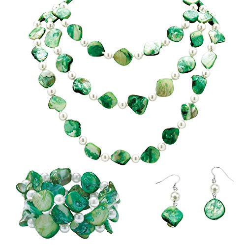 Palm Beach Jewelry Genuine Green Shell and Round and Simulated Pearl Earring, Stretch Bracelet and Strand Necklace Set, 60 inch