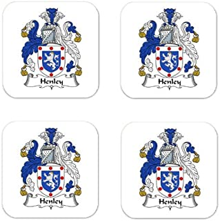Henley Family Crest Square Coasters Coat of Arms Coasters - Set of 4