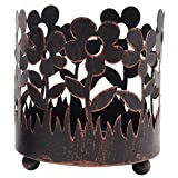 Hosley Metal Jar Farmhouse Candle Sleeves/Holders - Your Choice of Colors and Designs (Bronze - Floral)