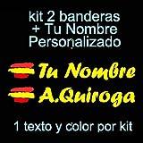 Vinilin Pegatina Vinilo Bandera España + tu Nombre - Bici, Casco, Pala De Padel, Monopatin, Coche, Moto, etc. Kit de Dos Vinilos (Amarillo)