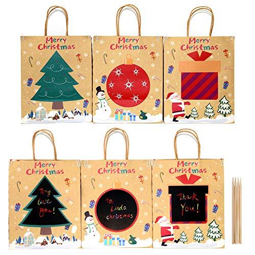 Sacchetti regalo in carta artigianale Scatole regalo con pannello di carta da graffio per messaggi personalizzati per forniture di bomboniere per feste di Natale Compleanno (6 pezzi)