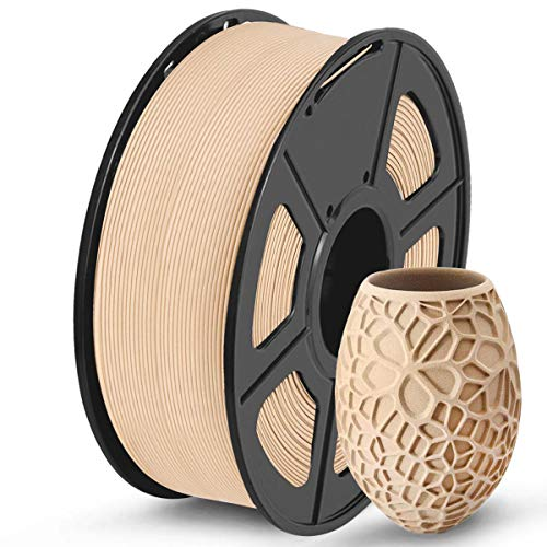 SUNLU Wood PLA Filamento 1.75mm, Wood Stampante 3D Filamento 1kg Spool, Dimensional Accuracy +/- 0.02 mm, Real Wood Filamento