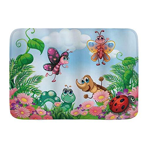 Microfiber Bath Mat Rug,Garden Gardening Butterfly Ladybug Worm Flowers and Grass,Bathroom Rugs Carpet Non Slip,29.5' X 17.5'