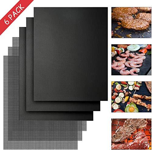 FIF-Grillmatte, 6er-Set Antihaft-Grillmatten Hitzebeständige Grillplatten für Holzkohle-, Gas- oder Elektrogrill, wiederverwendbar, 6 Stück (40 * 33 cm)