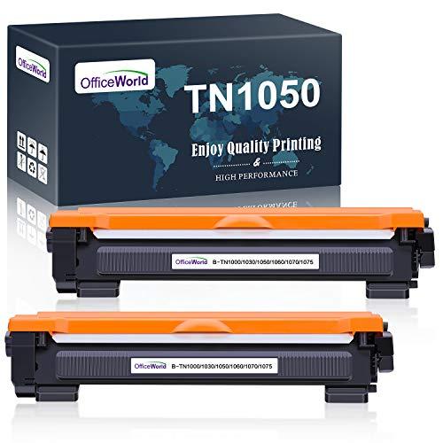 OfficeWorld TN1050 Cartuccia Toner per Brother TN-1050 (2 Nero) Compatibile con Stampanti Brother HL-1110 DCP-1510 HL-1210W DCP-1610W HL-1112 MFC-1810 HL-1212W MFC-1910W DCP-1612W DCP-1512