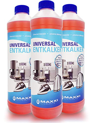 Maxxi Clean, Anticalcare e detergente multiuso per la pulizia di macchine da caffè, ferri da stiro e bollitori,250ml 3x 750 ml mit Farbindikator