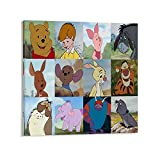 Trelemek Winnie The Pooh Tiger Piglet Eeyore Rabbit Roo - Arte de pared, 40 x 40 cm, lienzo para comedor, cocina, sala de estar, dormitorio, hogar, oficina, pasillo, escaleras