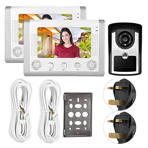 ZCZZ Visión Nocturna Función de Infrarrojos Videoportero Timbre de Puerta LCD TFT de 7 Pulgadas, Mejora la Seguridad del hogar (regulaciones británicas (110-240V), Transl)