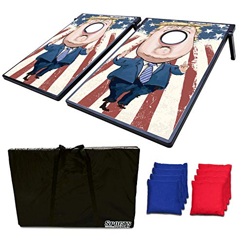 LOKATSE HOME Classic Cornhole Set - Includes 8 Bean Bags 2 Boards with MDF Surface & Travel Case