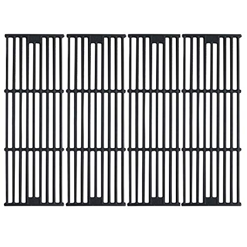 Hisencn Cast Iron Cooking Grates Replacement for Chargriller Duo 5050, 2121, 2123, 2222, 2828, 3001, 3030, 3725, 4000, 5050, 5252, 5650 Gas Grill Models Set of 4 Grill Grids