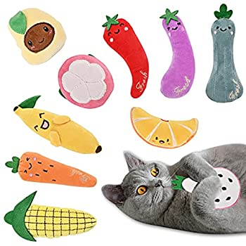 YIIFELL Jouets à l'herbe à Chat,10 Pièces Jouet en Peluche Catnip,Coussin Herbe à Chat Interactive Jouets à Mâcher Jouet Chat pour Les Jouets pour Chaton Kitty Chat
