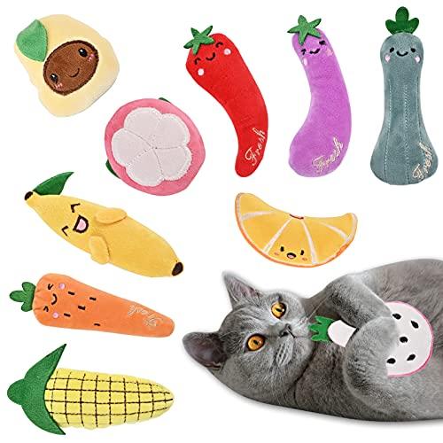 YIIFELL Spielzeug mit Katzenminze,10 Stück Katzenspielzeug mit Catnip,Katzenspielzeug Set aus Katzenkissen mit Katzenminze,Interaktives Kauspielzeug Katzenminze,Katzenminzenspielzeug für Katzen
