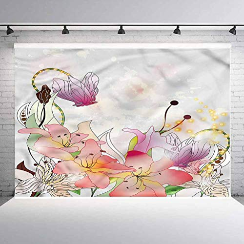 7x7FT Vinyl Photography Backdrop,Floral,Lily Blossoms in Soft Tones Photo Background for Photo Booth Studio Props