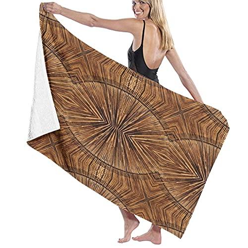 SUDISSKM Toalla de Playa de Playa de Microfibra Grande,Tribal Boho Bamboo Pattern Primitivo Oriental Estampado de Estilo de Madera Irregular,Toalla de Baño Suave de Secado Rápido 130x80CM