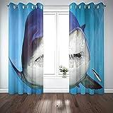 Cortinas 2 paneles The Sand Tiger Shark Taurus Grey Nurse Spotted Species of That and Waters Worldwide Paneles de cortinas de ventana o dientes irregulares para sala de estar dormitorio D & eacute; co