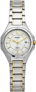 Seiko Women's SXDE14 Two Tone Stainless Steel Analog with Silver Dial Watch