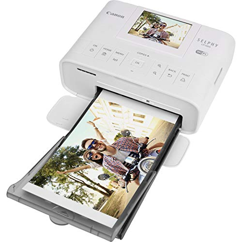 Canon SELPHY CP1300 Desktop or Portable Inkjet Laser Bluetooth Wireless Compact (4x6 Label) Photo Printer (White) Canon KP-108IN Color Ink Paper Set   Includes USB Printer Cable Gentle Cleaning Cloth