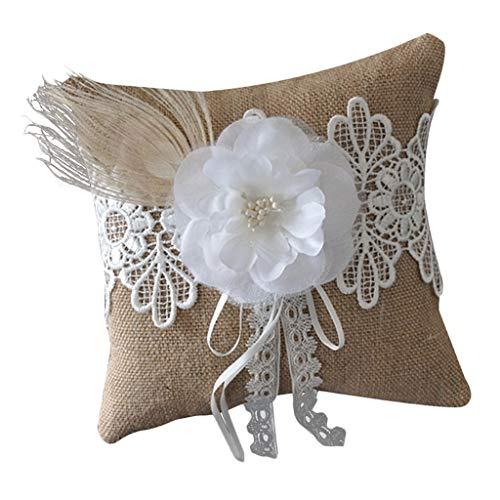 Generic Casamento Cerimônia Anel Travesseiro Almofada Linho Quadrado Anel Portador Bowknot 20 Cm - Pena de 15 centímetros