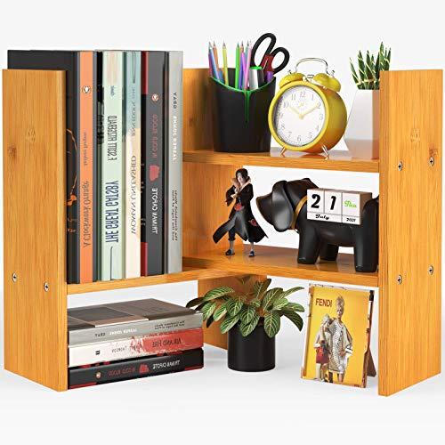 Pipishell Estantería de bambú para escritorio de oficina, estante de madera natural ajustable, estantes de mesa de exposición, estantería de esquina para artículos de oficina, decoración del hogar