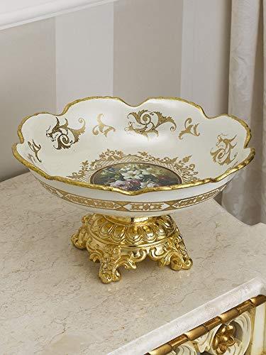 Siro Time Barock Schüssel Azalea Obstschale elfenbeinweiß und Gold Flowers Dekoration