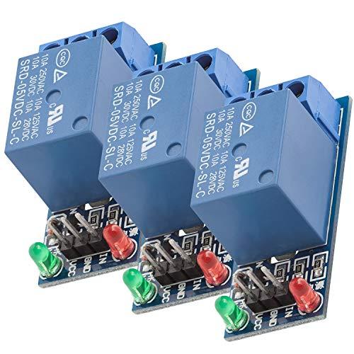 AZDelivery 3 x 1 canale KF-301 Modulo Relay 5V Low-Level-Trigger compatibile con Arduino incluso un Ebook!