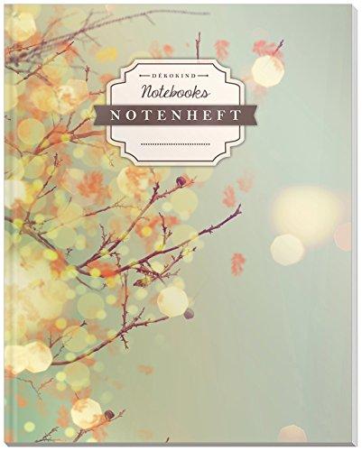 DÉKOKIND Notenheft | DIN A4, 64 Seiten, 12 Notensysteme pro Seite, Inhaltsverzeichnis, Vintage Softcover | Dickes Notenbuch | Motiv: Herbstlich