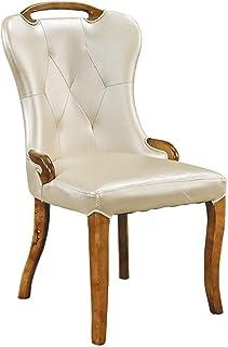 ShiSyan Silla de Comedor 2 sillas de Roble Silla de Comedor Grueso de Color Blanco lechoso Artificiales Asiento de Cuero Sillas de Cocina Casual (Color: Beige, Tamaño: 50cm x 51cm x 97cm) Sillas