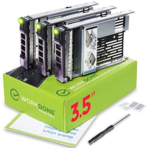 """WorkDone Pack 3u.-Plateau Caddy HDD 3.5"""" et Adaptateur 2.5"""" - Compatibles avec serveurs Dell PowerEdge 11-13ème - Manuel - Autocollants Partie Avant - Tournevis"""