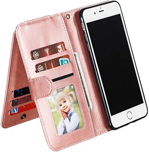 Ysimee Handyhülle kompatibel mit Samsung Galaxy A7 2018 /A750 mit 9 Kartenslots, Schutzhülle Klappbar Stoßfest Kratzfest Hülle Flip Handy Tache mit Standfunktion und Magnetverschluß, Rose Gold