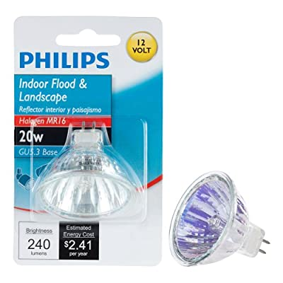 Philips 419317 20-Watt MR16 Landscape and Indoor Flood Light Halogen Light Bulb